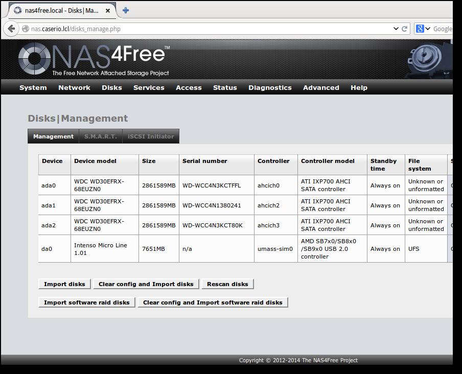 NAS4Free: das erste Share in Betrieb nehmen